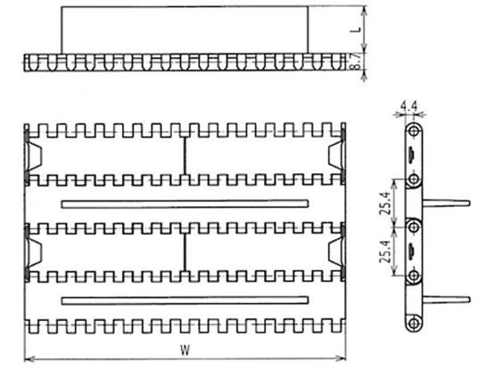 Ilustrasi Ukuran Plastic Modular Belt Flat Top Base Flight 1000 | Trindo Sukses Mandiri