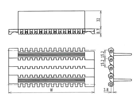 Ilustrasi Ukuran Plastic Modular Belt Flat Top Flight 1100 | Trindo Sukses Mandiri