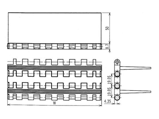 Ilustrasi Ukuran Plastic Modular Belt Flat Top Flight 5935 | Trindo Sukses Mandiri