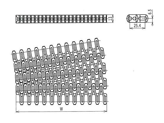 Ilustrasi Ukuran Plastic Modular Belt FLS254 Radius Flush Grid | Trindo Sukses Mandiri
