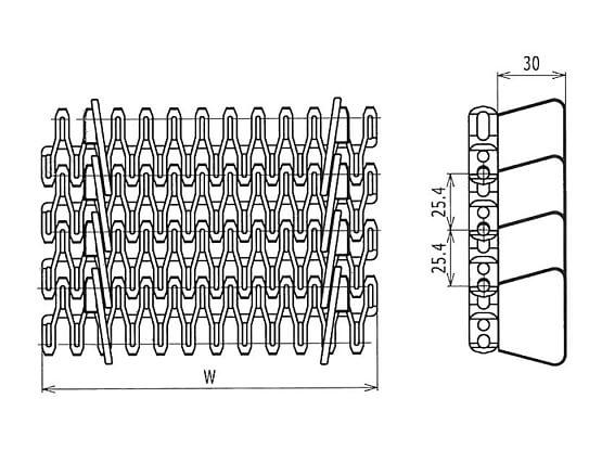 Ilustrasi Ukuran Plastic Modular Belt FLS254 Side Guards |Trindo Sukses Mandiri