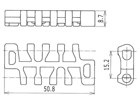 Ilustrasi Ukuran Plastic Modular Belt Flush Grid 1100 Molded With Width | Trindo Sukses Mandiri