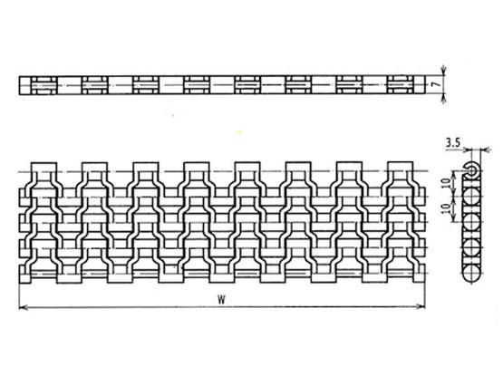 Ilustrasi Ukuran Plastic Modular Belt Flush Grid 9525 | Trindo Sukses Mandiri