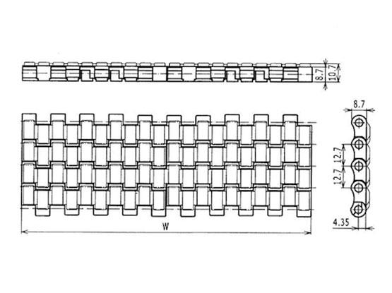 Ilustrasi Ukuran Plastic Modular Belt Friction Top 2120 | Trindo Sukses Mandiri