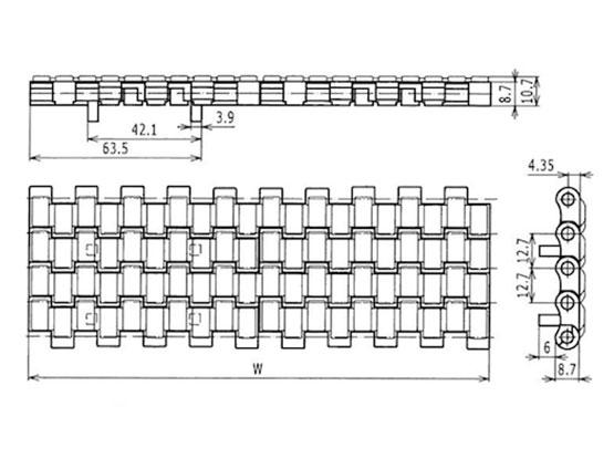 Ilustrasi Ukuran Plastic Modular Belt Friction Top 2120 With Positrack   Trindo Sukses Mandiri