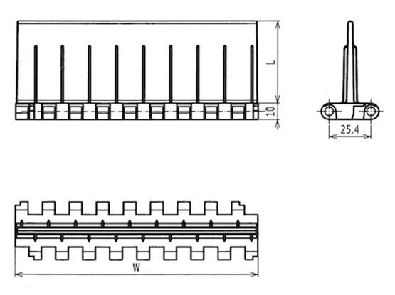 Ilustrasi Ukuran Plastic Modular Belt FTBFM2520 | Trindo Sukses Mandiri