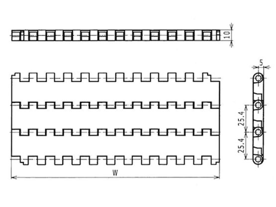 Ilustrasi Ukuran Plastic Modular Belt FTM2520 | Trindo Sukses Mandiri