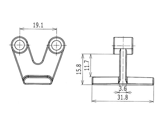 Ilustrasi Ukuran Plastic Modular Belt Hold Down Tab 5935 | Trindo Sukses Mandiri