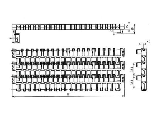 Ilustrasi Ukuran Plastic Modular Belt IS615 Radius Flush Grid With TAB | Trindo Sukses Mandiri