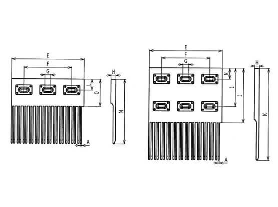 Ilustrasi Ukuran Plastic Modular Belt L SNB Finger Transfer Plates | Trindo Sukses Mandiri