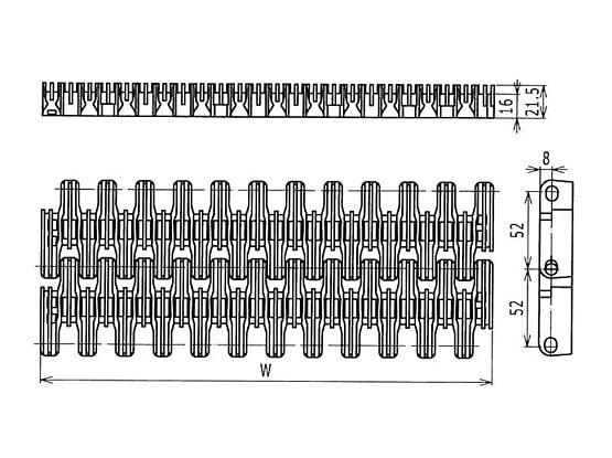 Ilustrasi Ukuran Plastic Modular Belt L SNB Raised Rib | Trindo Sukses Mandiri