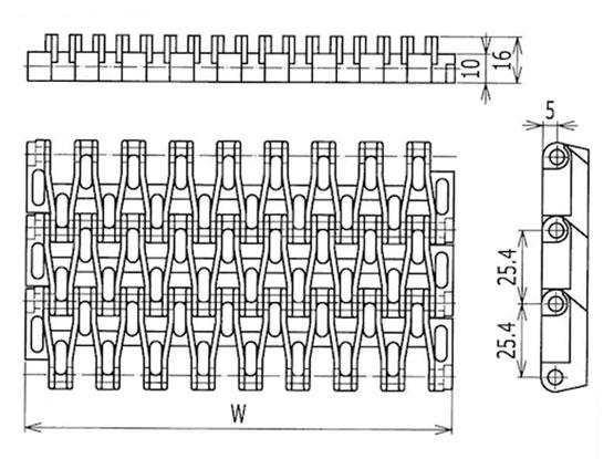 Ilustrasi Ukuran Plastic Modular Belt M2531 | Trindo Sukses Mandiri