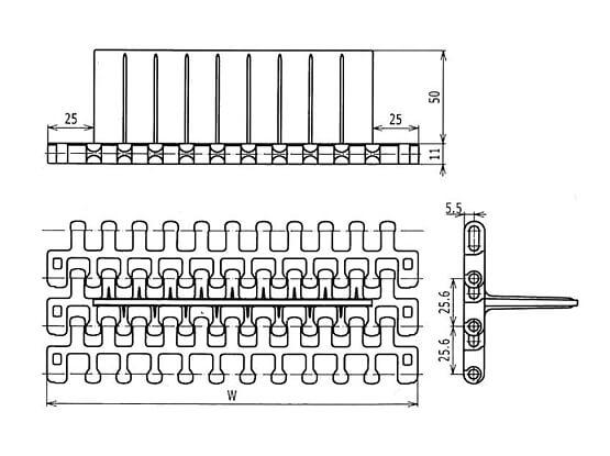 Ilustrasi Ukuran Plastic Modular Belt M2540 Flush Grid Base Flights | Trindo Sukses Mandiri