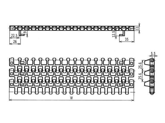 Ilustrasi Ukuran Plastic Modular Belt M2540 Radius Flush Grid With TABS | Trindo Sukses Mandiri