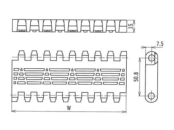 Ilustrasi Ukuran Plastic Modular Belt OPB Flush Grid | Trindo Sukses Mandiri
