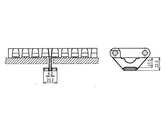 Ilustrasi Ukuran Plastic Modular Belt OPB Hold Down Tabs | Trindo Sukses Mandiri