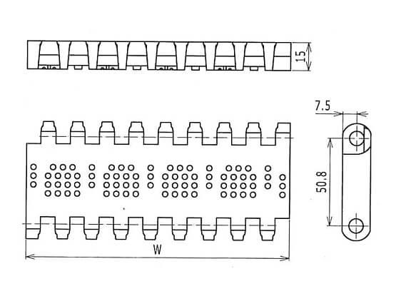 Ilustrasi Ukuran Plastic Modular Belt OPB Perforated Flat Top | Trindo Sukses Mandiri