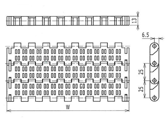 Ilustrasi Ukuran Plastic Modular Belt PFT510 | Trindo Sukses Mandiri
