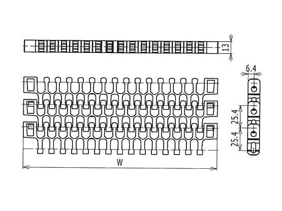 Ilustrasi Ukuran Plastic Modular Belt S2400 Radius Flush Grid | Trindo Sukses Mandiri