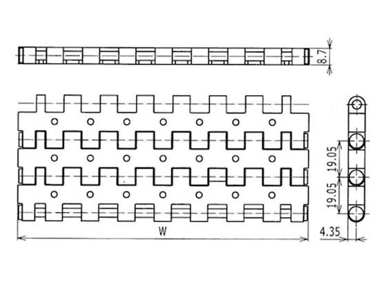 Ilustrasi Ukuran Plastic Modular Belt Vacuum Top 5935 | Trindo Sukses Mandiri