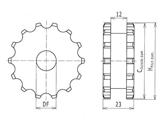 Ilustrasi Ukuran Plastic Modular Classic Sprocket 2120 | Trindo Sukses Mandiri