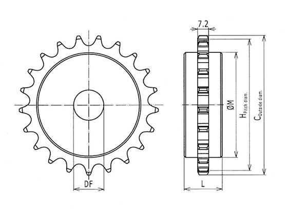 Ilustrasi Ukuran Plastic Special Chain Classic Sprocket 2040P | Trindo Sukses Mandiri