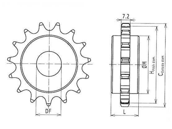 Ilustrasi Ukuran Plastic Special Chain Classic Sprocket 40P | Trindo Sukses Mandiri