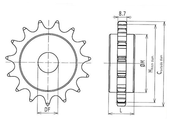 Ilustrasi Ukuran Plastic Special Chain Classic Sprocket 50P | Trindo Sukses Mandiri