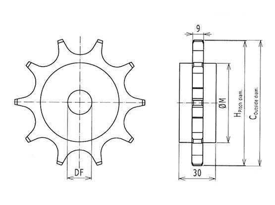 Ilustrasi Ukuran Plastic Special Chain Classic Sprocket F54 | Trindo Sukses Mandiri