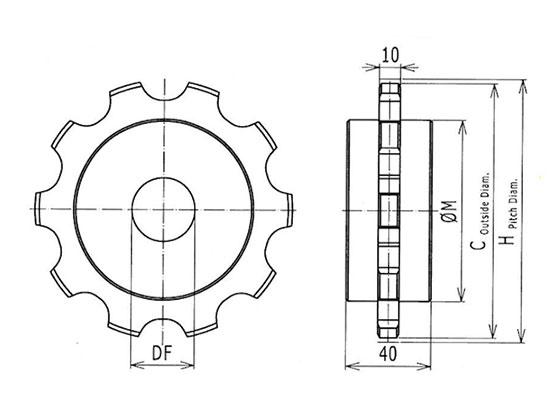 Ilustrasi Ukuran Plastic Special Chain Classic Sprocket RT114 | Trindo Sukses Mandiri