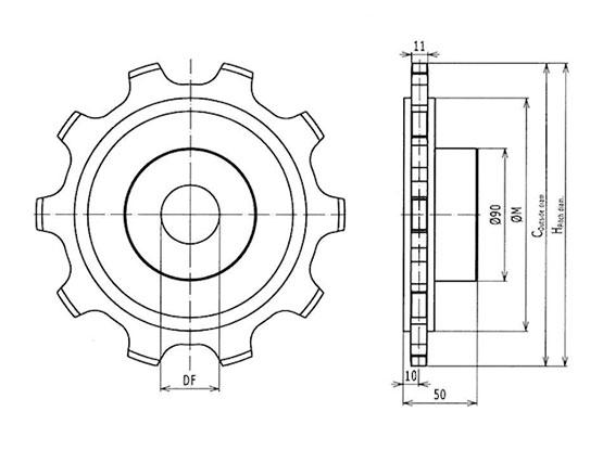 Ilustrasi Ukuran Plastic Special Chain Classic Sprocket W1080SS | Trindo Sukses Mandiri