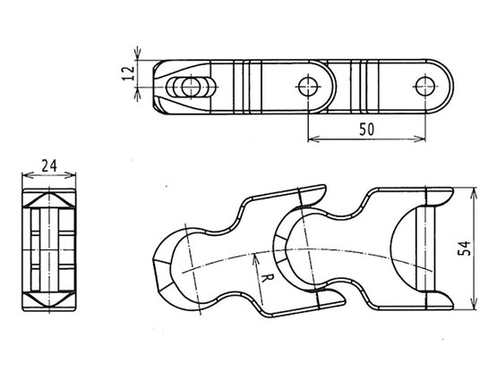 Ilustrasi Ukuran Plastic Special Chain K50 | Trindo Sukses Mandiri