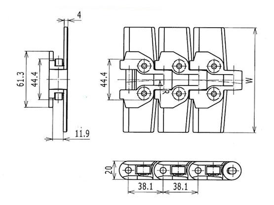 Ilustrasi Ukuran Plastic Special Chain RT114 | Trindo Sukses Mandiri
