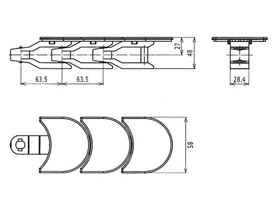 Ilustrasi Ukuran Plastic Special Chain W1080 | Trindo Sukses Mandiri