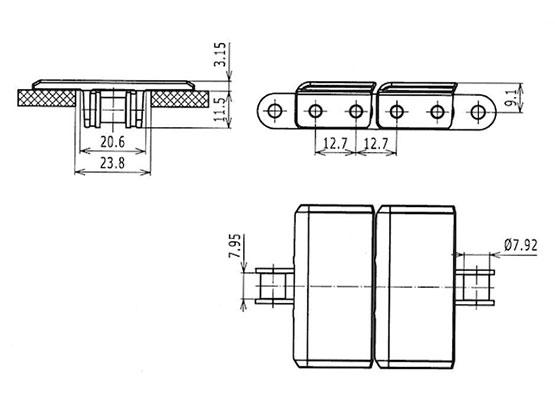 Ilustrasi Ukuran Plate Top Chain 843 | Trindo Sukses Mandiri
