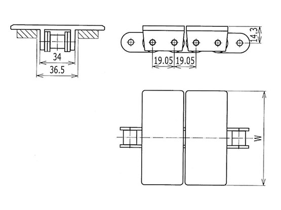Ilustrasi Ukuran Plate Top Chain 963 | Trindo Sukses Mandiri