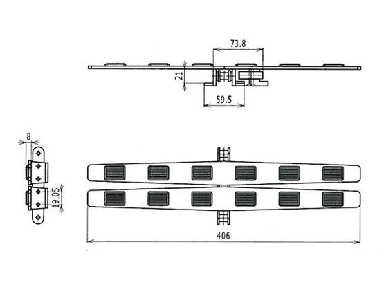Ilustrasi Ukuran Plate Top Chain With Rubber 1873SE | Trindo Sukses Mandiri