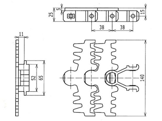 Ilustrasi Ukuran Snap On 3-Fingered Flexible Plain Chain 140 | Trindo Sukses Mandiri