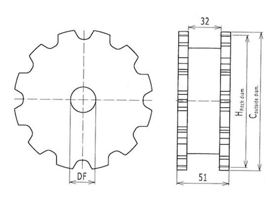 Ilustrasi Ukuran Snap On Flexible Chain Classic Sprocket 7100 | Trindo Sukses Mandiri