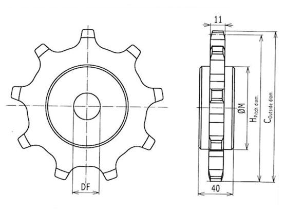 Ilustrasi Ukuran Snap On Flexible Chain Sprocket 83 | Trindo Sukses Mandiri
