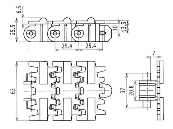 Ilustrasi Ukuran Snap On Flexible Cleated Chain 7000C | Trindo Sukses Mandiri