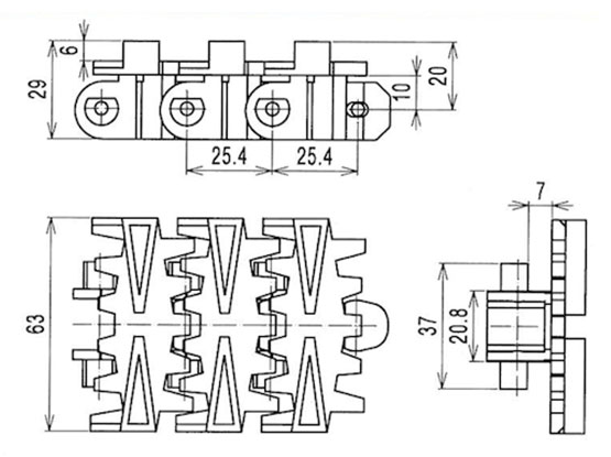 Ilustrasi Ukuran Snap On Flexible Cleated Chain 7000D | Trindo Sukses Mandiri