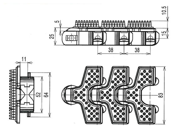 Ilustrasi Ukuran Snap On Flexible Cleated Chain 83 | Trindo Sukses Mandiri