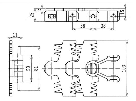 Ilustrasi Ukuran Snap On Flexible Plain Chain 103   Trindo Sukses Mandiri