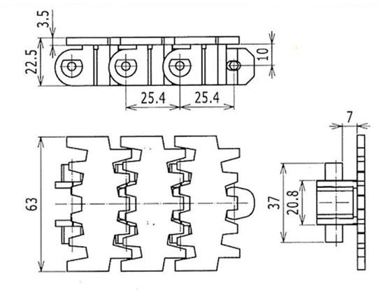 Ilustrasi Ukuran Snap On Flexible Plain Chain 7000k | Trindo Sukses Mandiri