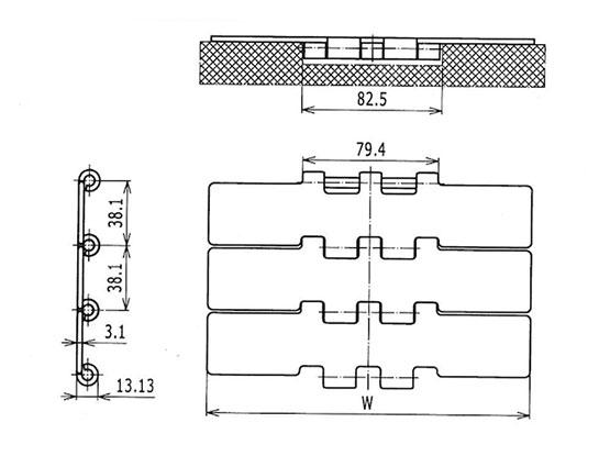 Ilustrasi Ukuran Steel Table Top Chain 802 | Trindo Sukses Mandiri