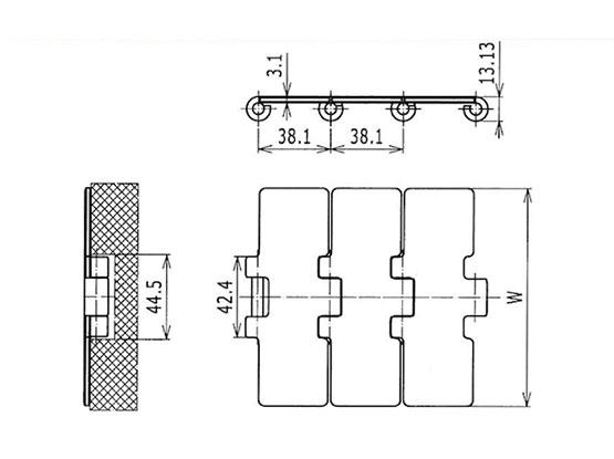 Ilustrasi Ukuran Steel Table Top Chain 812 | Trindo Sukses Mandiri