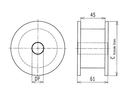 Ilustrasi Ukuran Steel Table Top Chain Classic Idler Drum 812 | Trindo Sukses Mandiri