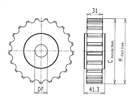 Ilustrasi Ukuran Steel Table Top Chain Classic Sprocket 8811   Trindo Sukses Mandiri