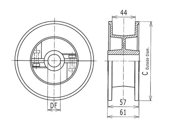 Ilustrasi Ukuran Steel Table Top Chain Split Idler Drum 812 | Trindo Sukses Mandiri